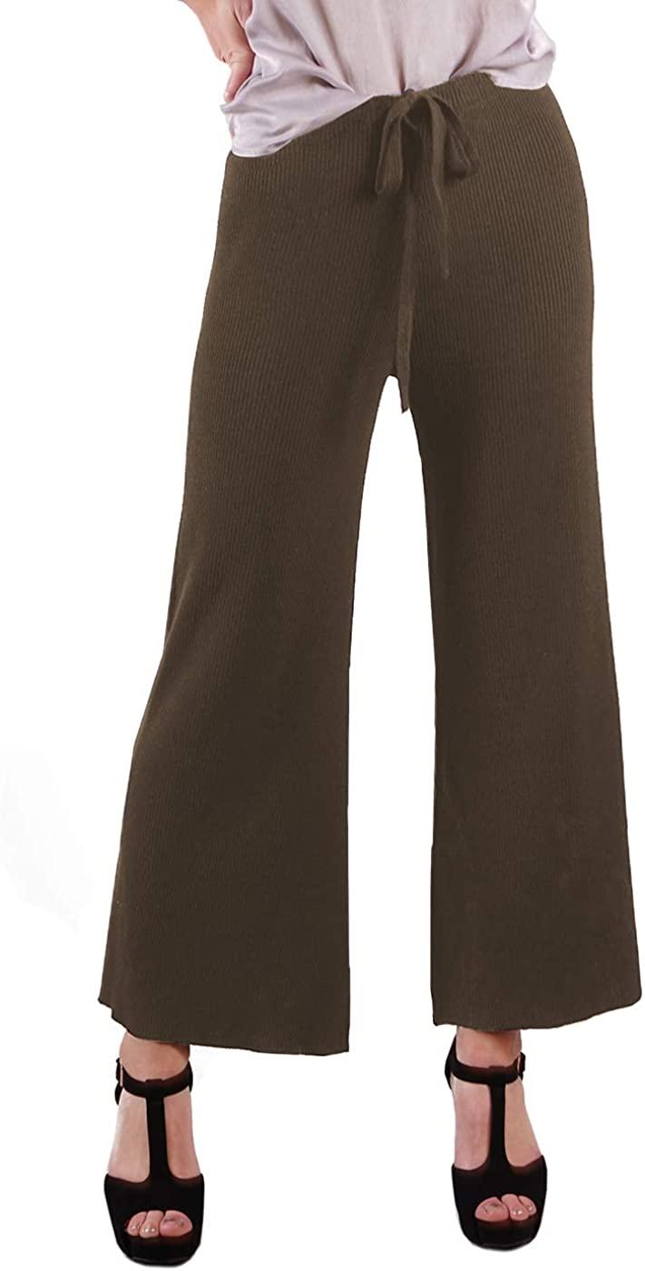Anna-Kaci Women's Ribbed Knit Wide Leg Drawstring Waist Tie Crop Culotte Pants