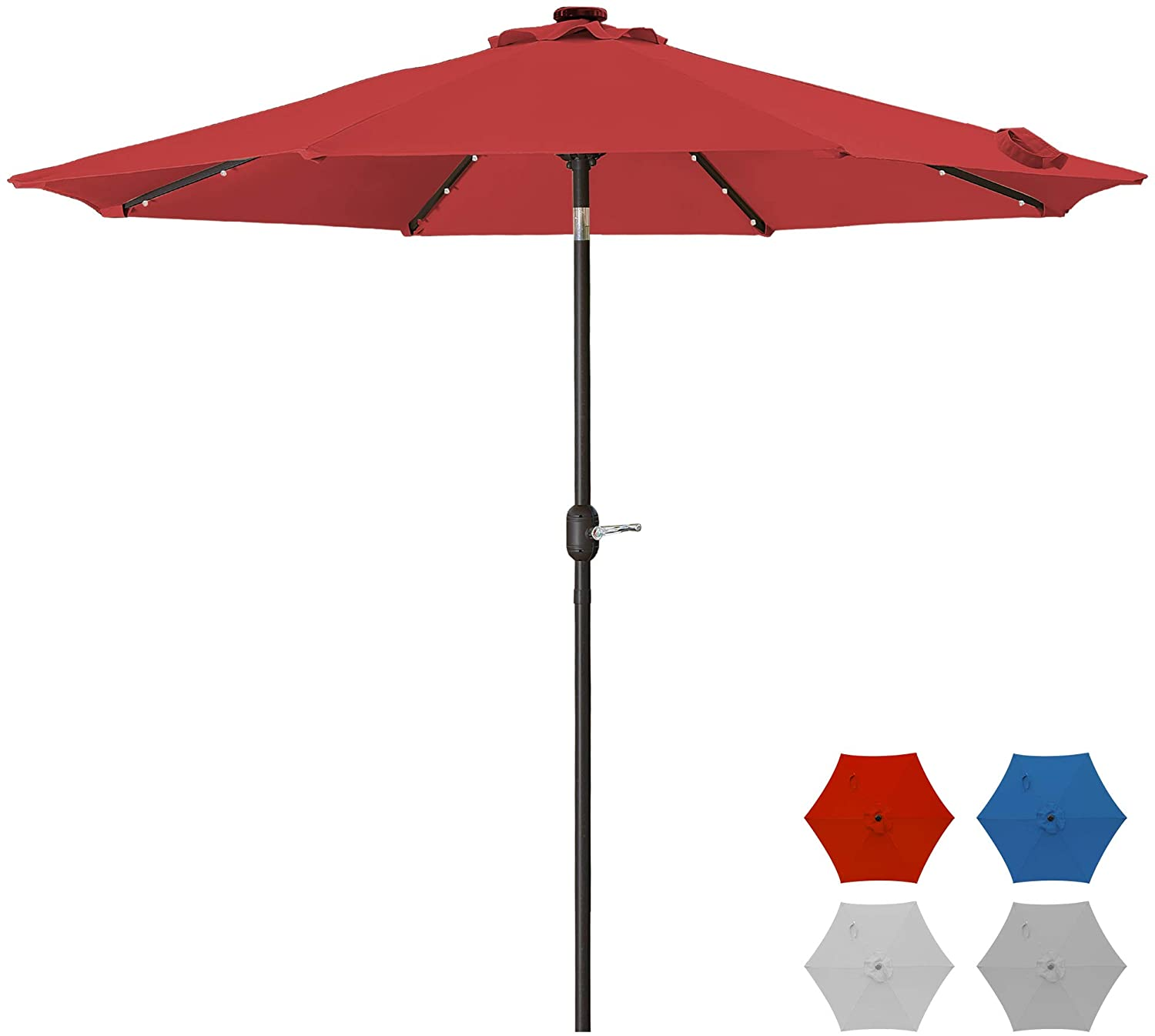 9 Ft Patio Solar Umbrella Outdoor Market Table Umbrella with 32 LED Lighted, Crank, 8 Ribs, Polyester Canopy (Red)