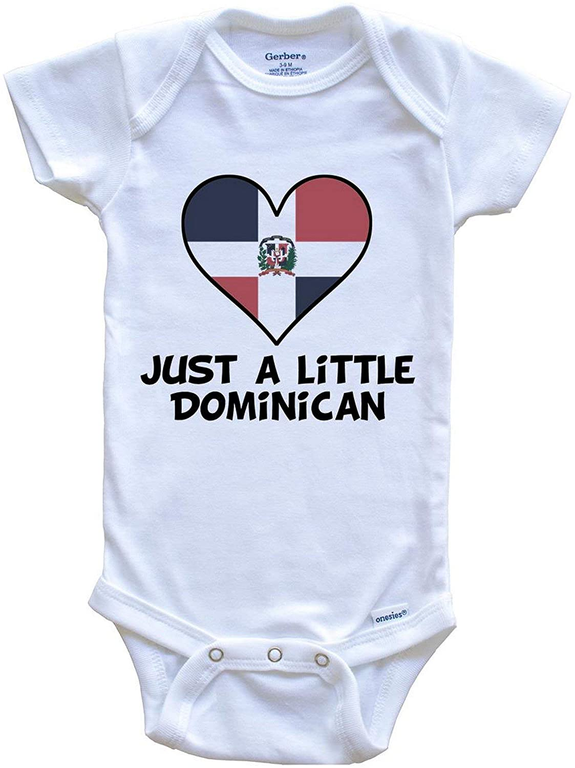 Really Awesome Shirts Just A Little Dominican Onesie - Funny Dominican Republic Flag Baby Bodysuit
