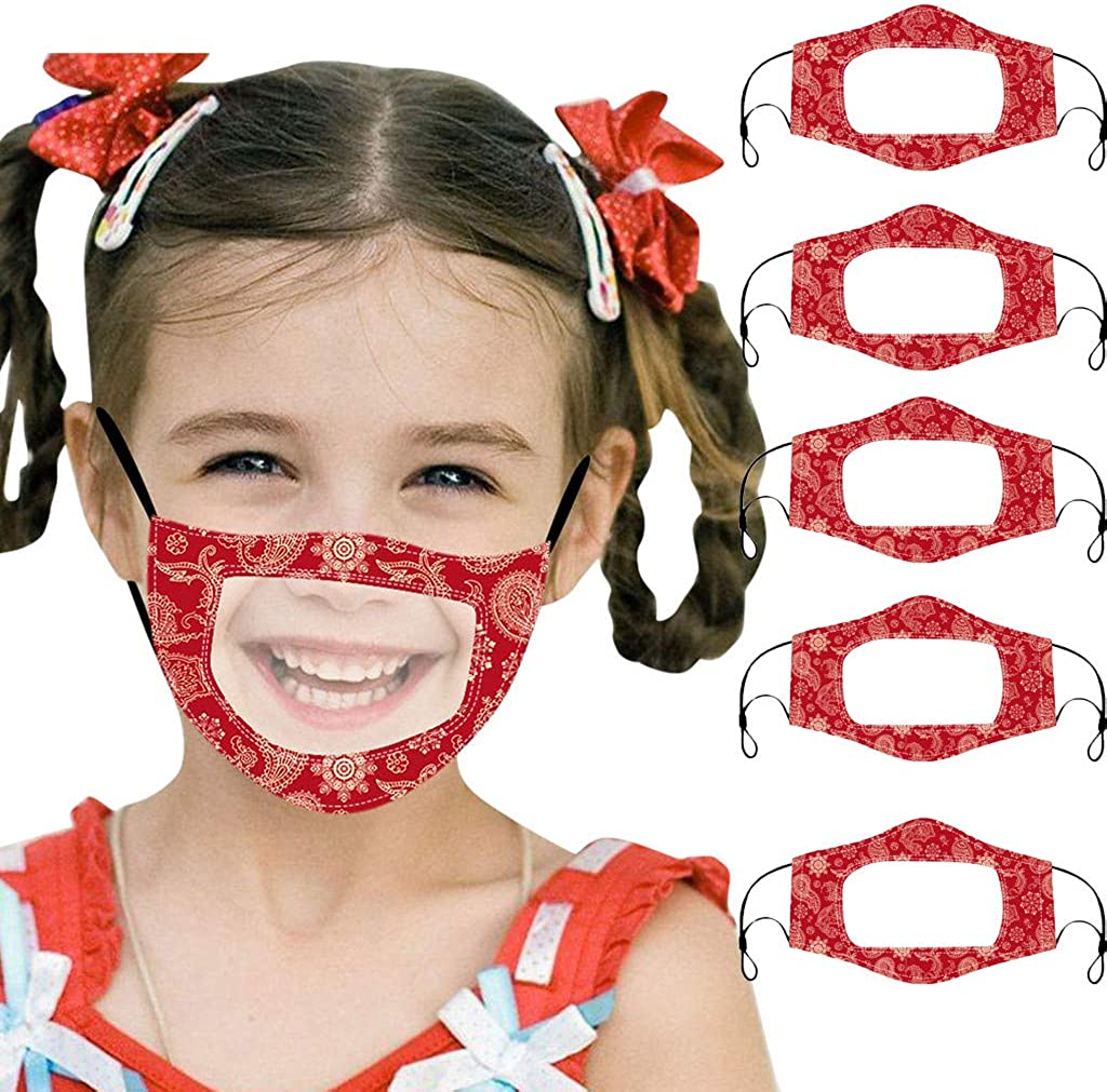 5 Pc Face Bandanas with Clear Window, Reusable Washable, Visible Expression Lip Reading, Face Macks for Children Kids