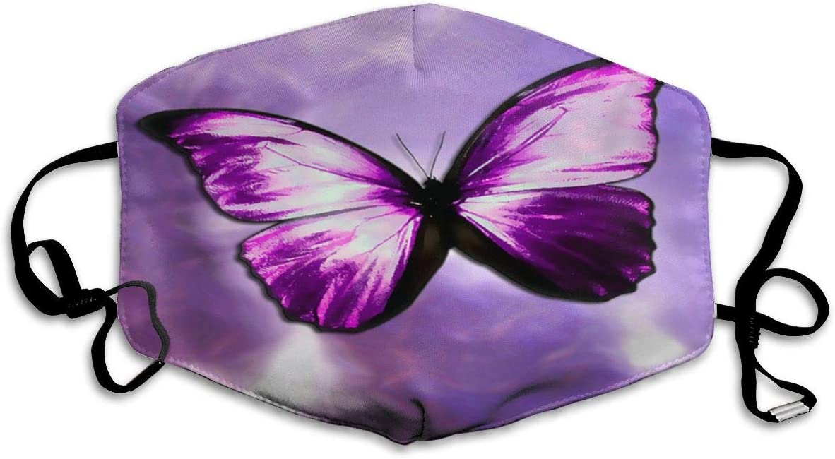 Doumku Mouth Cover The Magical Mystical Purple Butterfly Unisex Anti Dust Ear Loops Reusable Washable Mouth Protection Headwear
