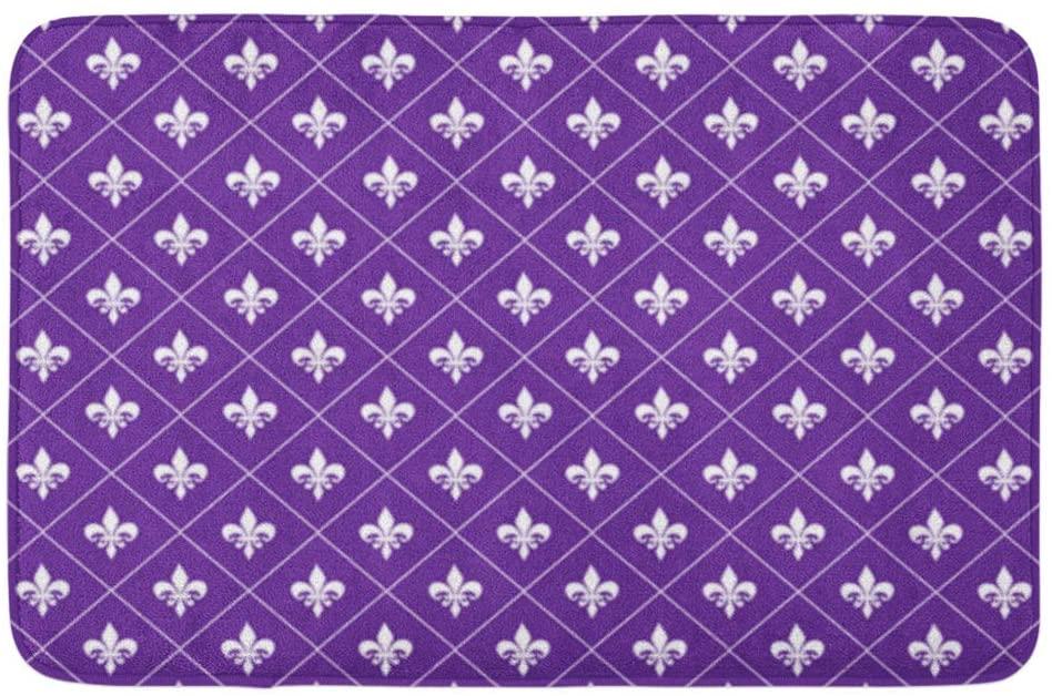 Adowyee Bath Mat Purple Fleur De Lis Background Invitation Brush Stroke Calligraphic Calligraphy Cozy Bathroom Decor Bath Rug with Non Slip Backing 20