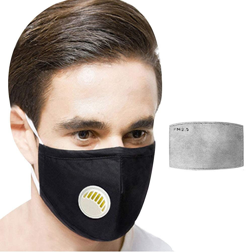 Van Caro Reusable Breathing Face Cover Shield,Filter Insert Cotton Mouth Cover,Outdoor Dustproof Air Filter PM2.5 Sport