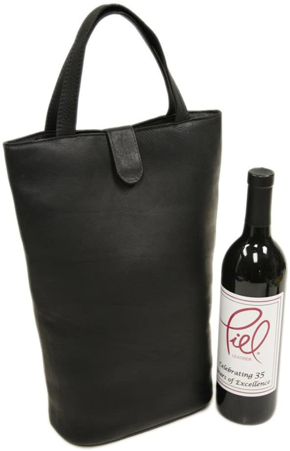 Piel Leather Doulbe Wine Tote, Black, One Size