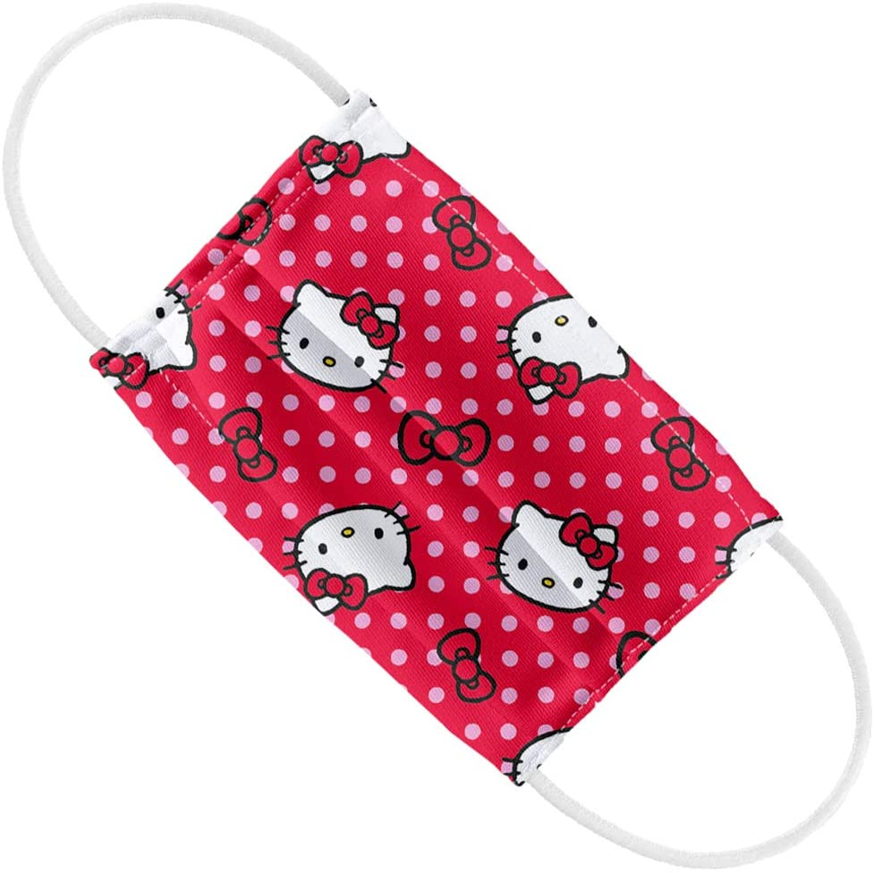 Hello Kitty Kids Red and Pink Polka Dot Pattern 1-Ply Reusable Face Mask Covering