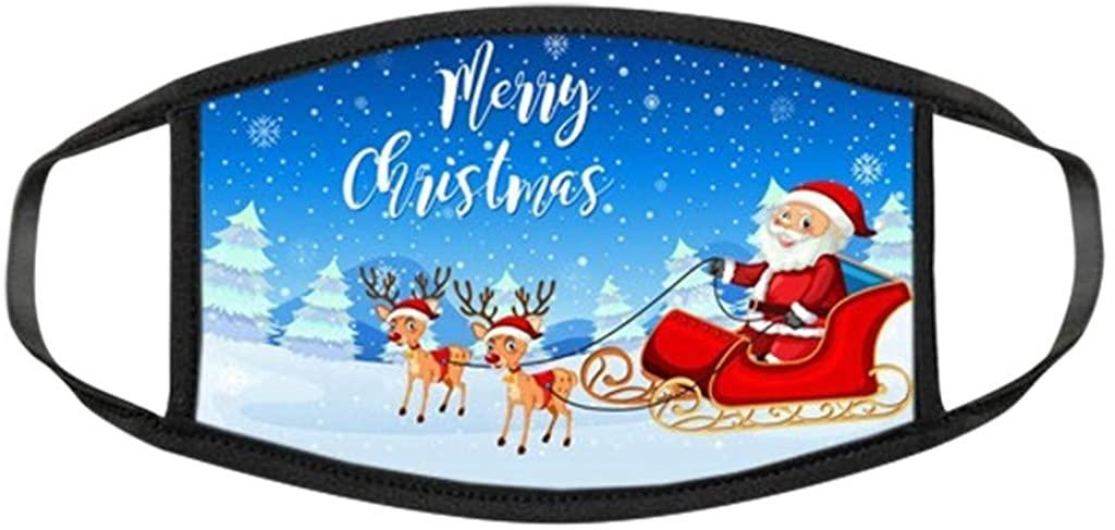 KEoans Christmas Printed Face Bandanas,Reusable Face Bandana,Cartoons Santa Claus Mouth Covering for Cosplay and Daily Life