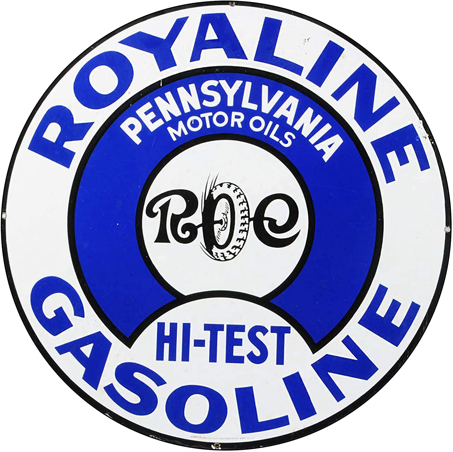 Brotherhood Vintage Gas Sign Reproduction Vintage Metal Signs Round Metal Tin Sign for Garage and Home 8 Inch Diameter – Royaline Gasoline