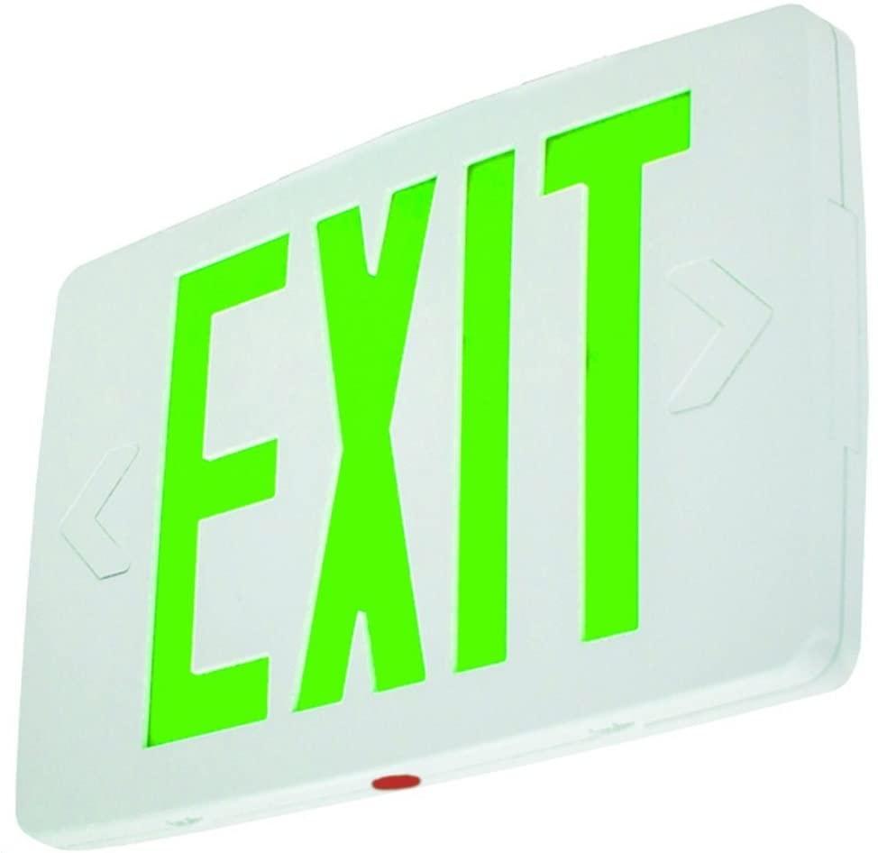 Ultra Thin LED Exit Sign Emergency Light Lighting Emergency LED Light/Battery Back-up/Single Face/White Housing/UL Certified (Green Letters)