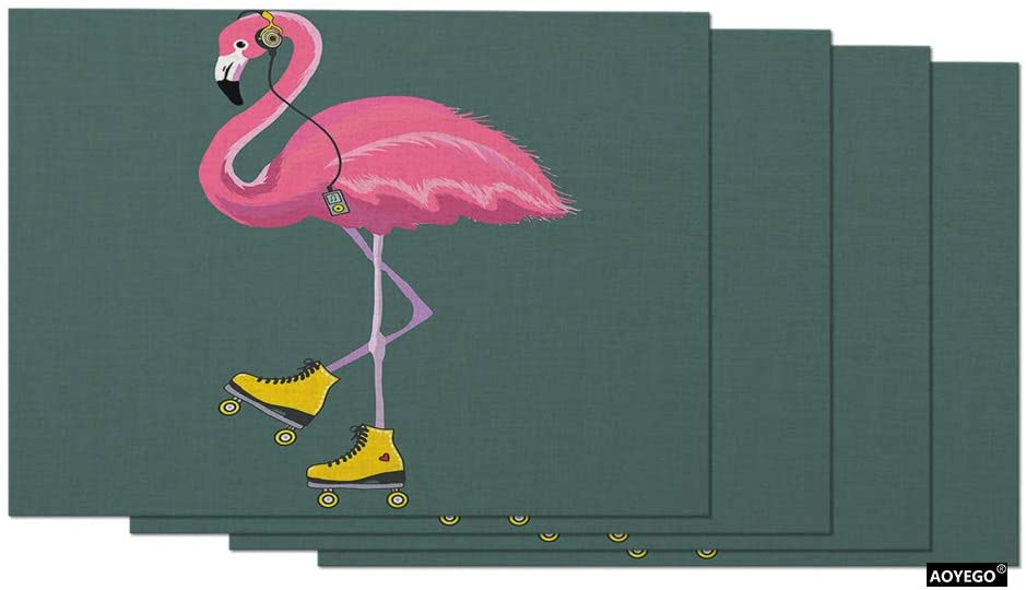 AOYEGO Flamingo Place Mats 12x18 Inch Pink Bird in Roller Shoes Headphones Music Funny Animal Table Placemats Set of 4 Cotton Linen for Dining Room Kitchen Home Decor