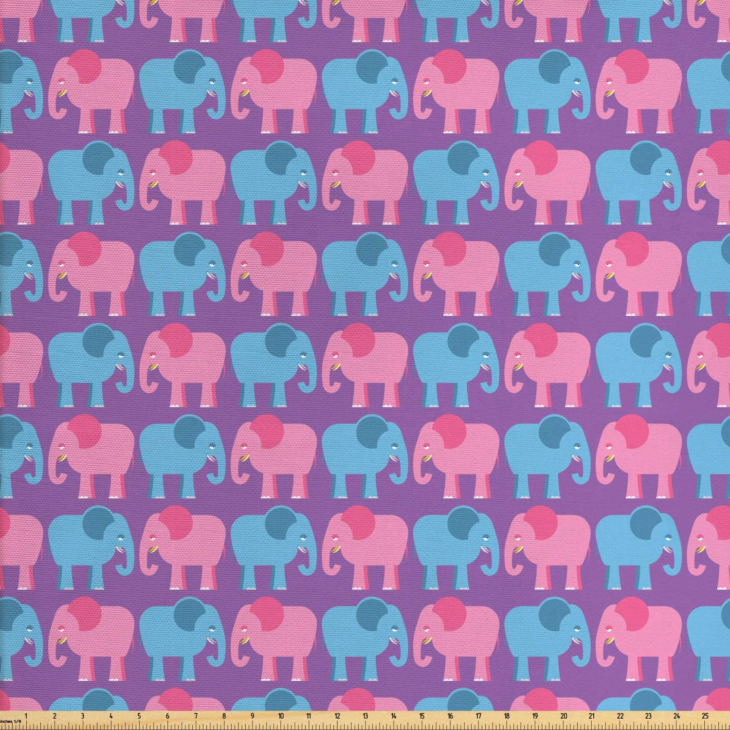 Ambesonne Nursery Elephant Fabric by The Yard, Pattern of and Big Wild Animals of The Jungle, Decorative Fabric for Upholstery and Home Accents, 1 Yard, Violet Sky Blue