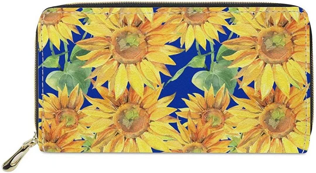 Dellukee Sunflower Print Fashion Leather Wallet Case Women Zip Around Phone Clutch Bag Long Purse Organizer