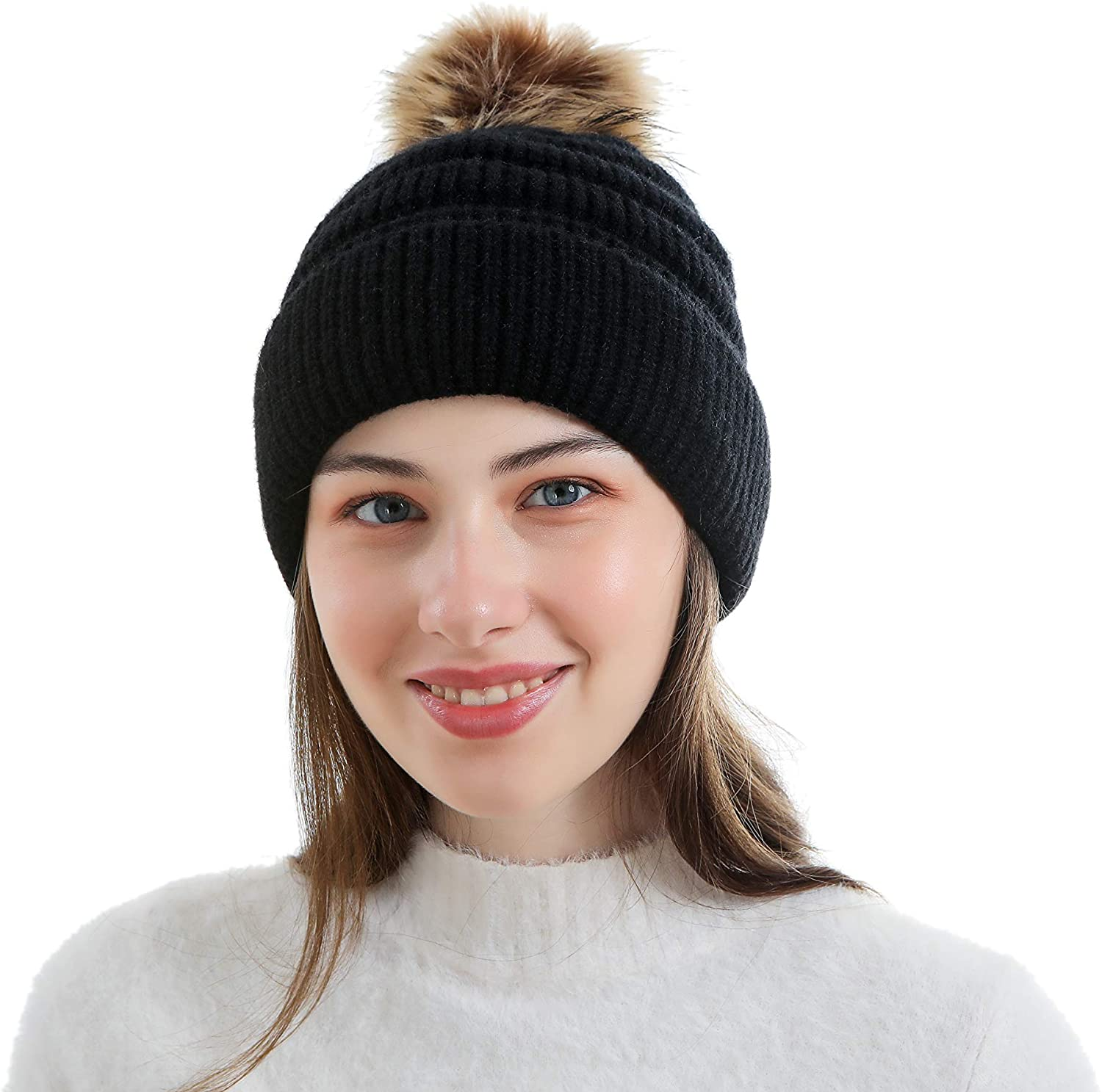 NA. Winter Knitted Beanie with Warm Fleece Lined, Removable Faux Fur Pom for Women
