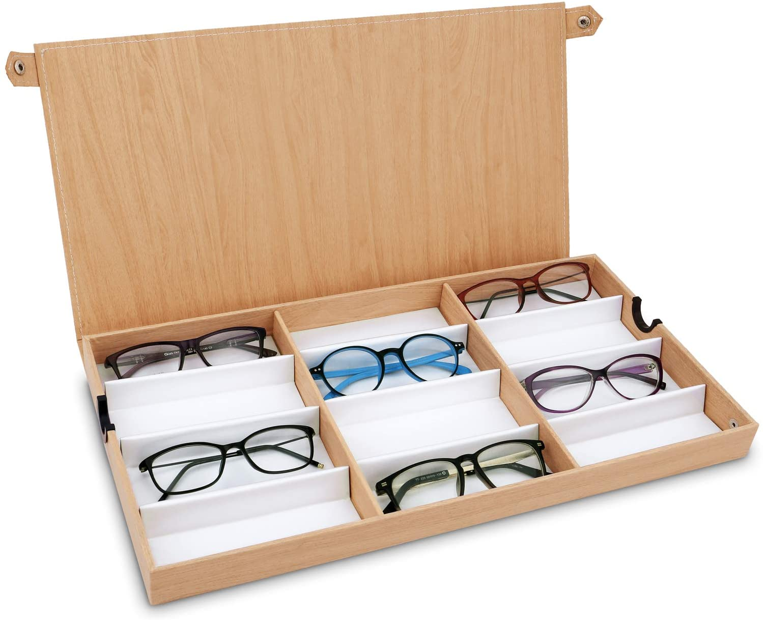"""Ikee Design 12 Slots Eyewear Storage Organizer for Small or Medium Glasses Display Tray, Wood Pattern Cover for Eyeglasses, Watches and Jewelry, Oak, 19""""W x 10""""D x 1 1/2"""