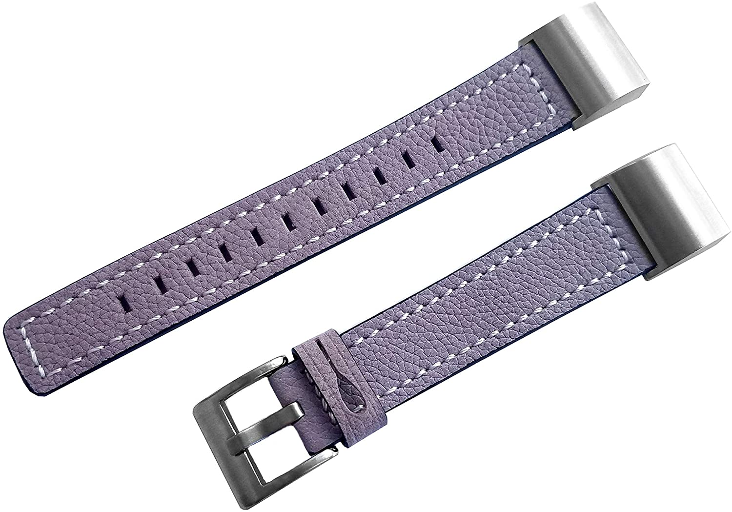 NICKSTON Purple Suede with White Stitches Band Compatible with Fitbit Charge 4, Charge 3 and Charge 2 Tracker Leather Strap (5. Pink Rose Gold Color Buckle Adapters, for Charge 3)
