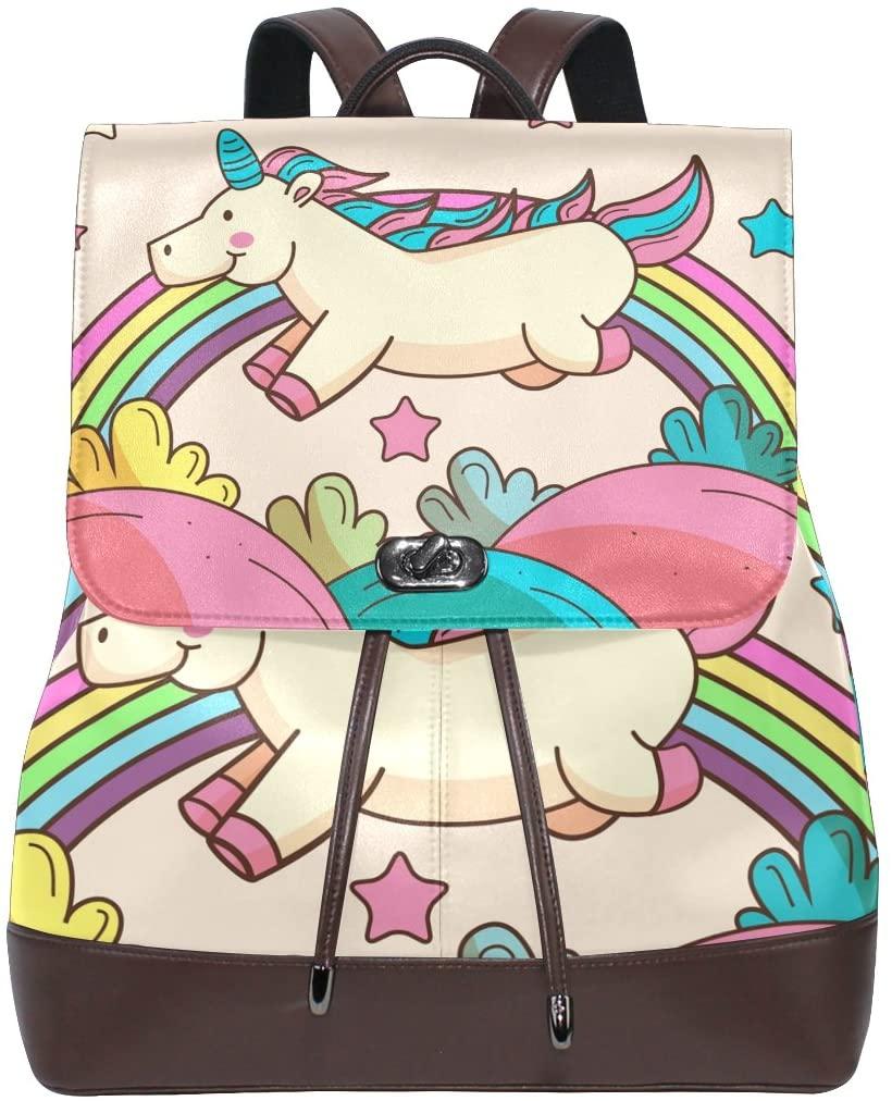 Animal Rainbow Women's Genuine Leather Backpack Bookbag School Shoulder Bag