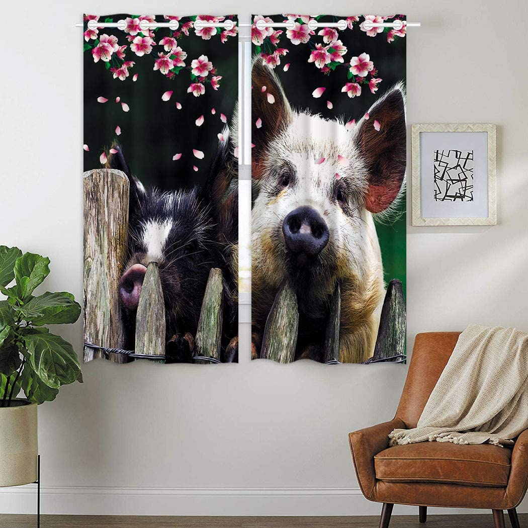 SXCHEN Thermal Insulated Grommet Blackout Curtains for Bedroom Peach Blossom Wild Boar Fence Pig (2 Panels W42 x 63 Inch)