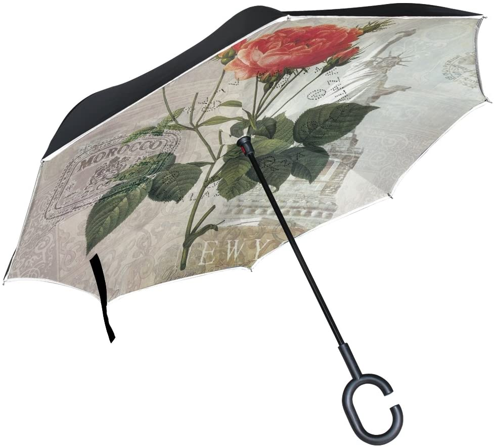 ALAZA Inverted Umbrella Vintage Shabby Chic Red Rose Statue of Liberty UV Anti Windproof Reverse Folding Umbrellas with C-Shape Handle for Car Outdoor Travel