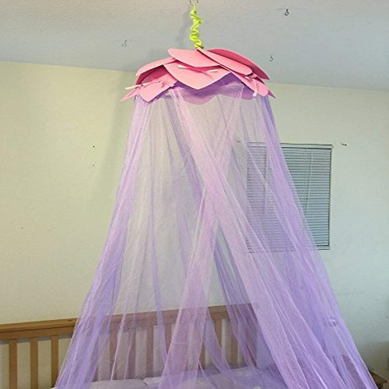 OctoRose Lotus Leaf Top Bed Canopy Mosquito Net for Bed, Dressing Room, Out Door Events (Purple)