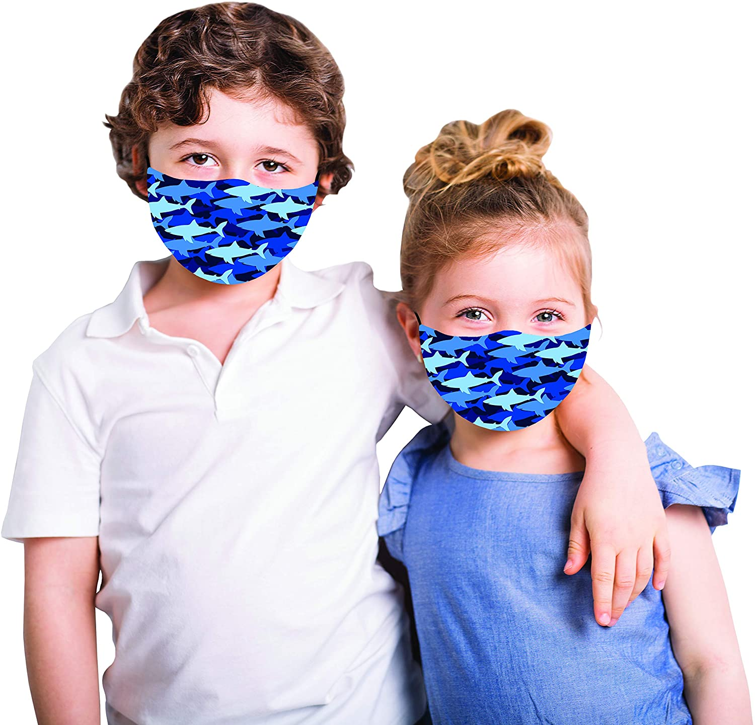 Snoozies Kids Face Mask - 1 Cloth Face Mask for Kids with Filter Pocket + 4 Filters - Washable Reusable Face Mask - Ear Loops Made for Parents to Tie to Fit - Shark - Ages 2-4