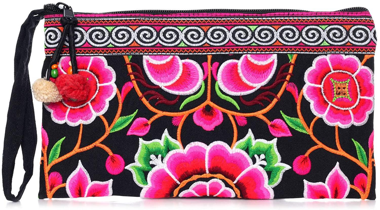 Changnoi Pink Silk Worm Dark Fabric Hmong Clutch Hill Tribe Bags Handmade Thai Fair Trade