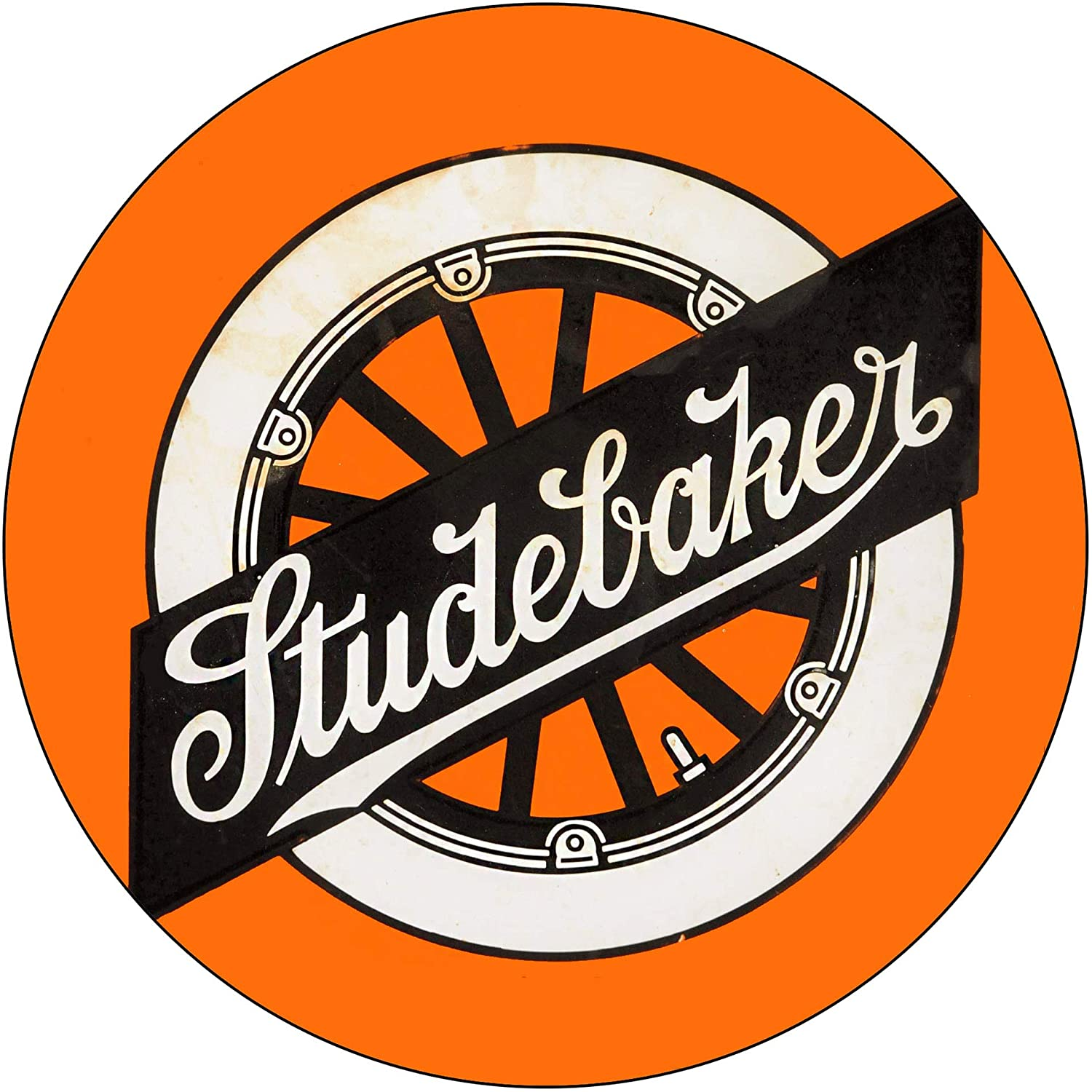 Brotherhood Vintage Gas Sign Reproduction Vintage Metal Signs Round Metal Tin Sign for Garage and Home 8 Inch Diameter – Studebaker Orange Wheel