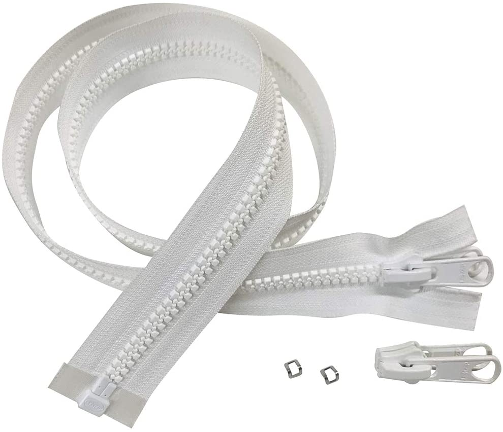 EZ-Xtend Lenzip #8 Separating Zipper - Heavy Duty Cut to Length Zipper w/Double Metal Locking Zipper Pulls - Includes Stainless Steel Zipper Bottom Stop And Extra Zipper Slider Replacement(White 120)