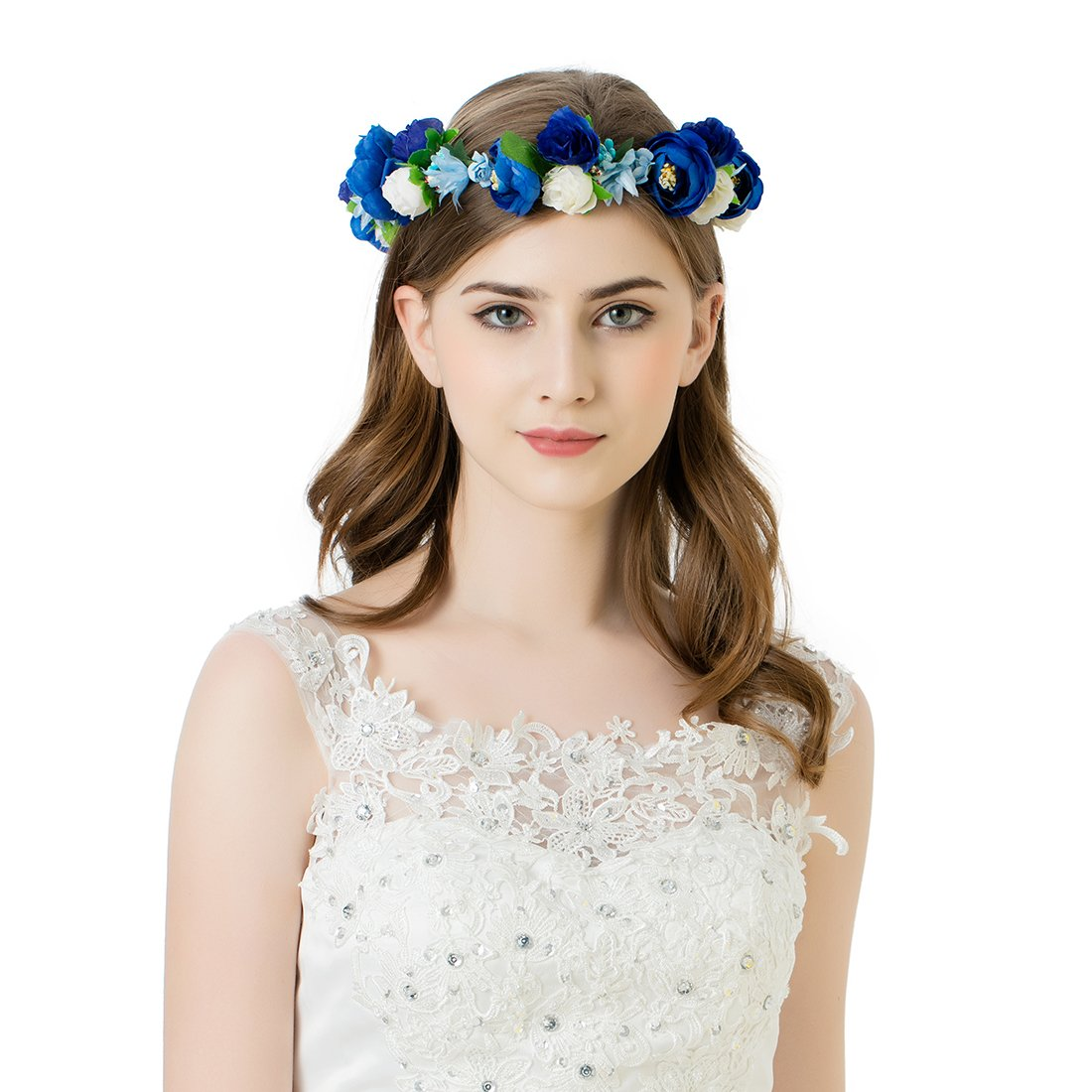 AWAYTR Flower Crown Headband for Women - Mori Girl Bride Headdress Seaside Holiday Garlands(Dark blue&Royal blue&White)