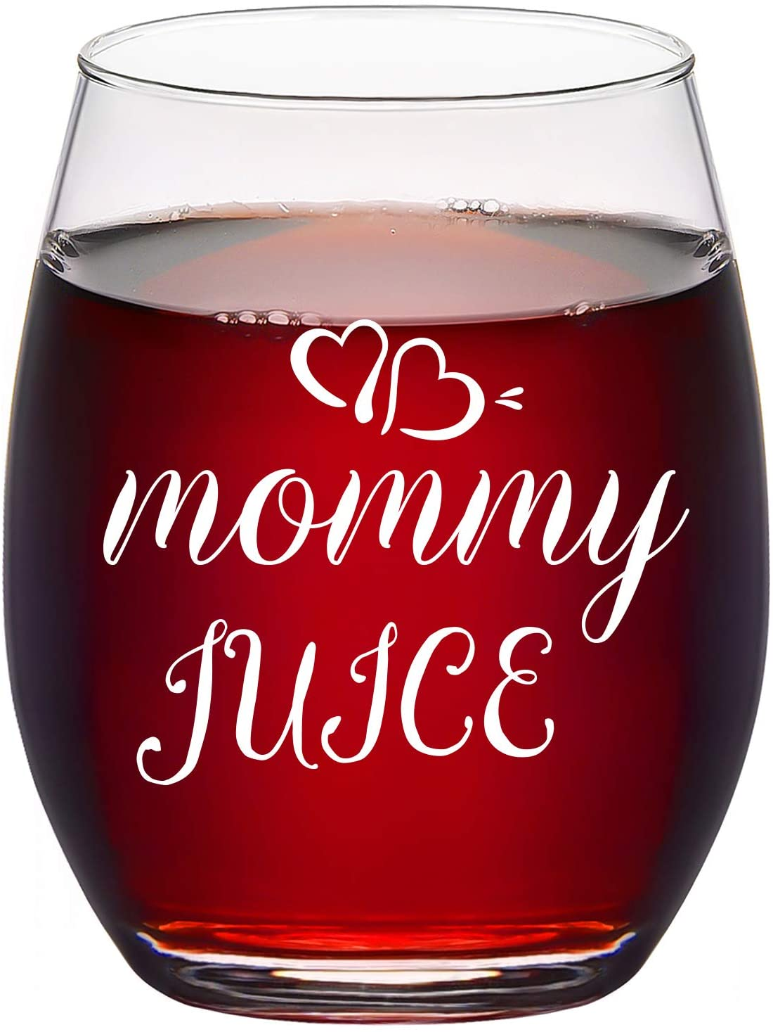 Mommy Juice Stemless Wine Glass 15Oz - Best Gift for Christmas Day, Birthday, Mothers Day, Thanksgiving, White Elephant - Funny Gift for Mom, New Mom, Wife, Women from Daughter, Son, Kids, Husband