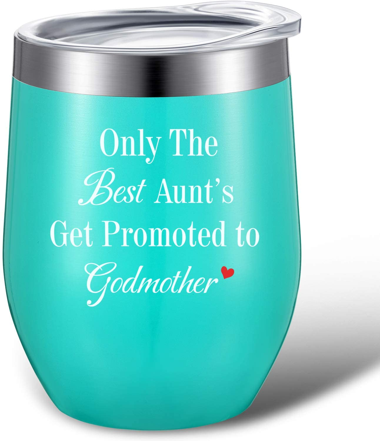 Only the Best Aunts Get Promoted to Godmother Mug Tumbler, Godmother Aunt Gifts for Birthday, Mothers Day, Christmas, Thanksgiving Day, Double Wall Vacuum Wine Tumbler Cup with Gift Box (Mint, 12 oz)