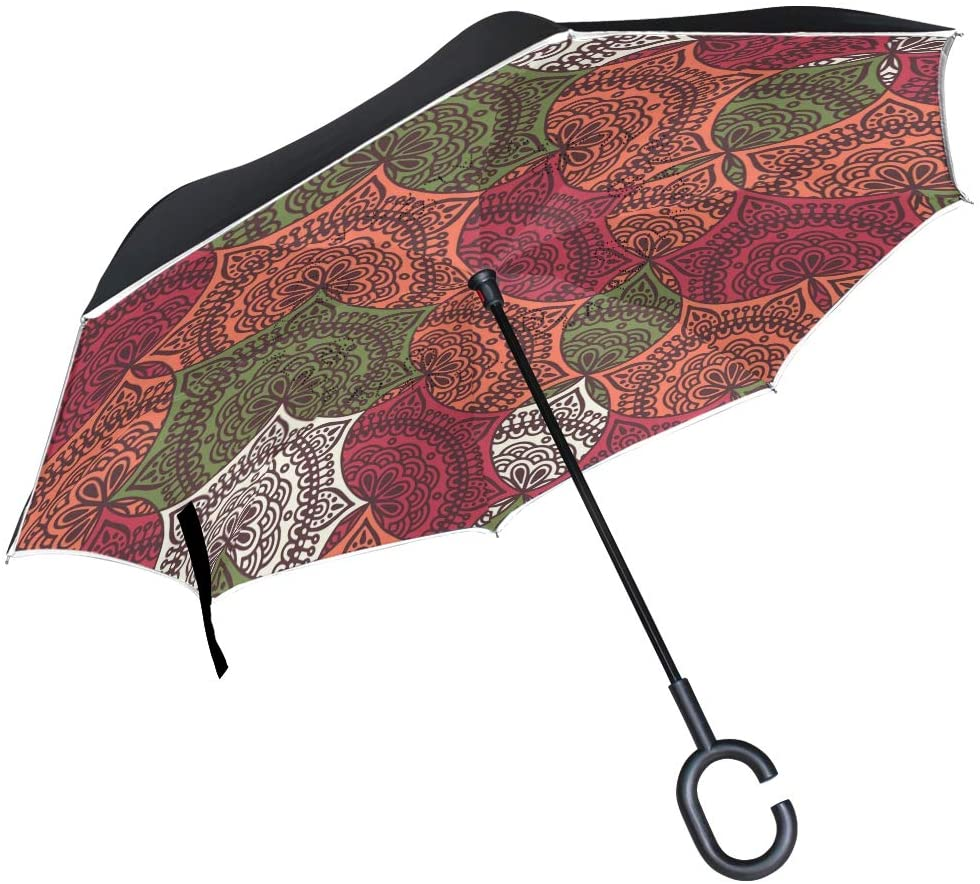 SUABO Double Layer Inverted Umbrellas Reverse Folding Umbrella Colorful Roma Design5 Windproof Umbrella for Car Rain Outdoor with C-Shaped Handle