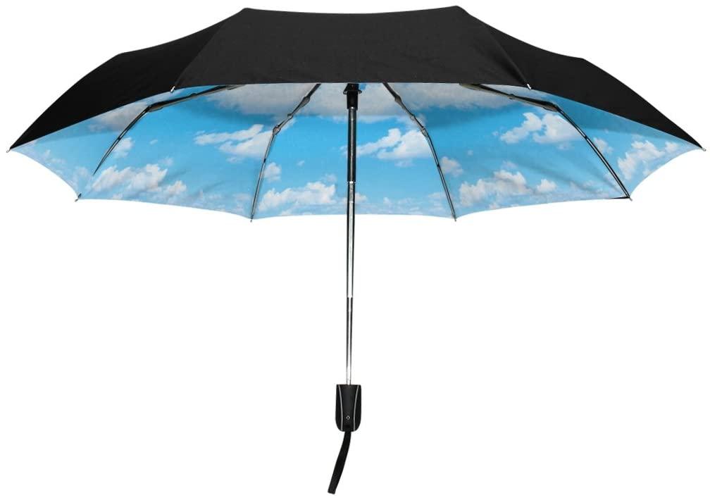 YZGO Umbrella Light Sunny Blue Sky Clouds UV Anti Lightweight Triple Folding Drop Sturdy Umbrella for Business & Personal