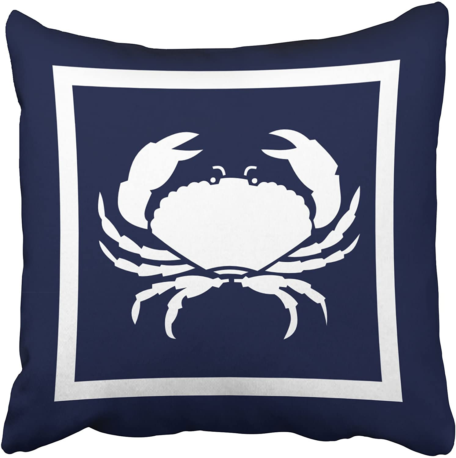 antoipyns Accrocn Square Throw Pillow Covers Outdoor Nautical Crab White Navy Reversable Outdoor Pillowcases Polyester (18 X 18 ) Inch with Hidden Zipper Home Sofa Cushion Decorative Pillowcase