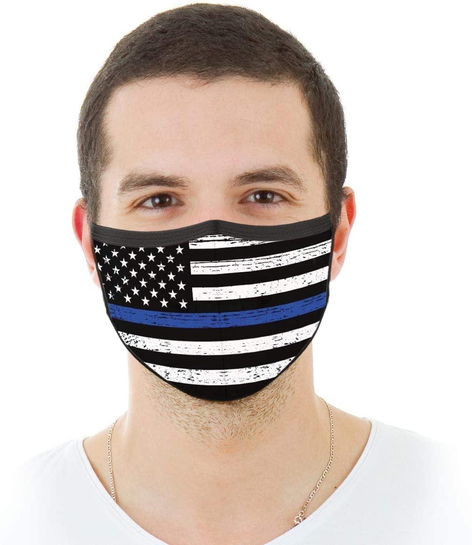 VTH GLOBAL Police Officer Thin Blue Line Lives Matter Support American Flag Law Enforcement Back Deputy Sheriff Design Print Reusable Washable Breathable Cloth Face Mask Women Men for Dust Protection