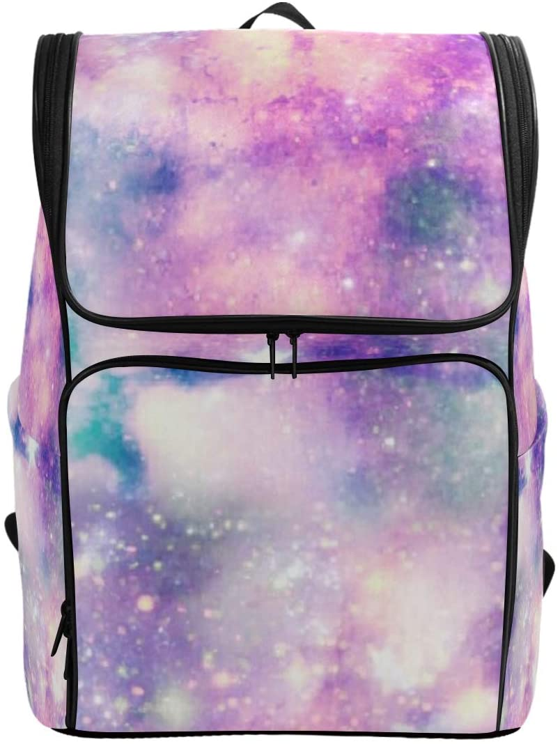 Pink Galaxy Backpack Waterproof Polyester Campus Backpack Lightweight Travel Daypack Large Capacity