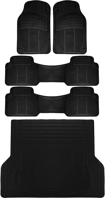 OxGord 5pc Rear Set Ridged Rubber Floor Mats, Universal Fit Mat for SUVs Vans- Rear Driver Passenger Side, Rear Runners and Trunk Liner Black