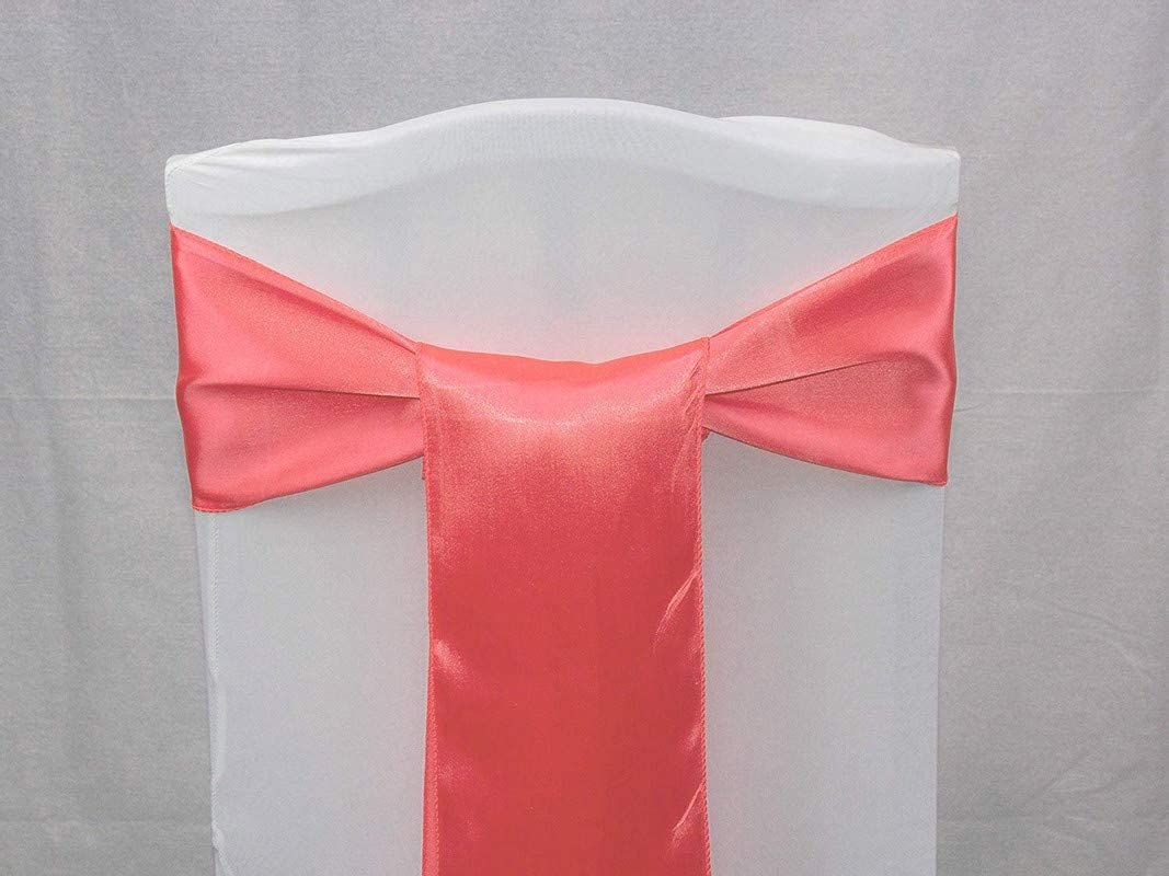 VDS Chair Sashes Satin Ribbon Bows for Wedding Events Banquets Decoration (Pack of 250 Coral)