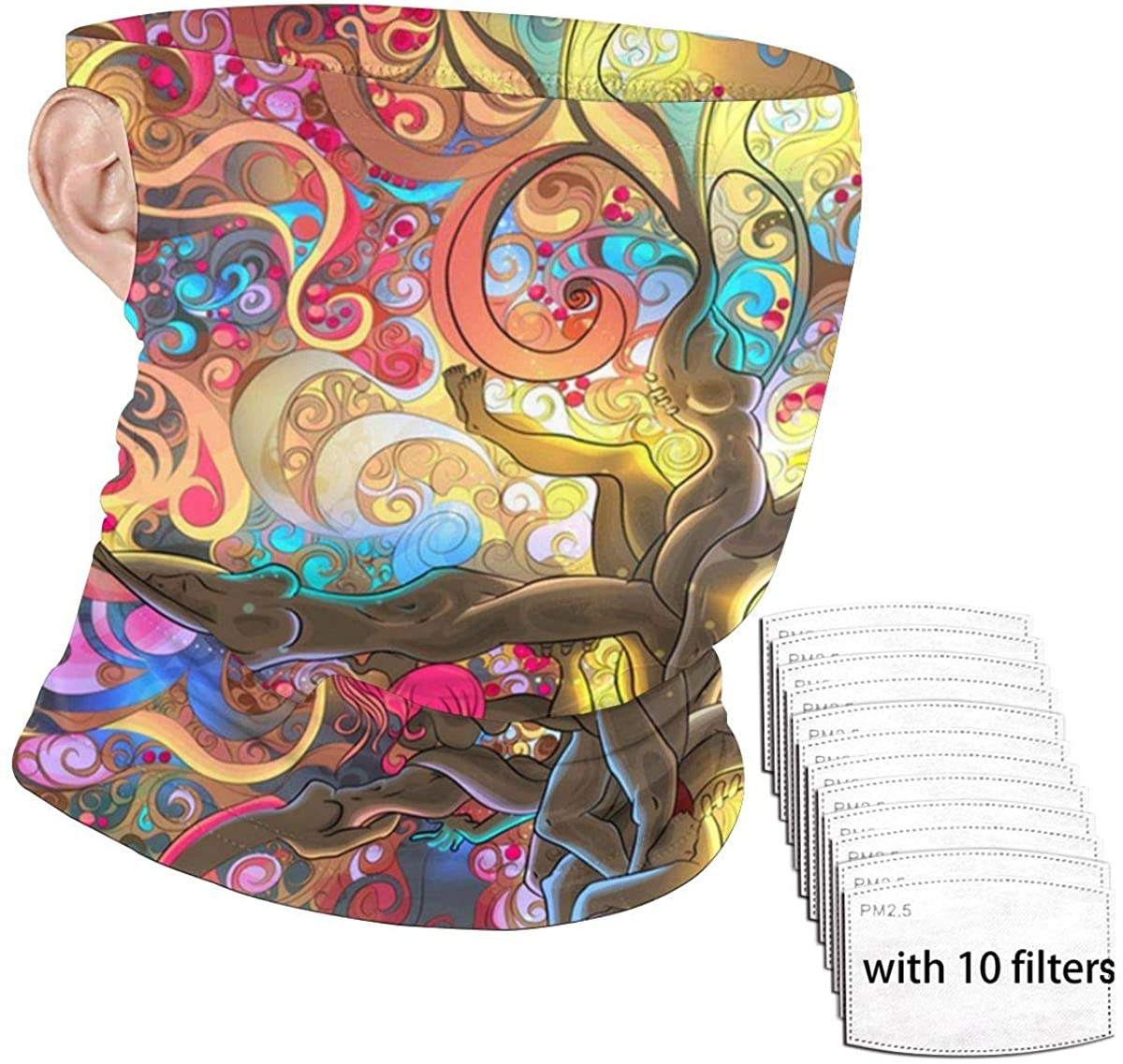 Bandana Neck Gaiter with Safety Carbon Filter Ear Loop Face Cover Sport Headband For Men Women