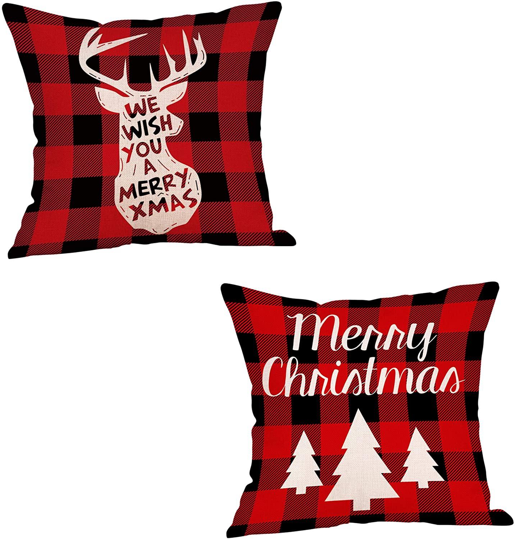 decorbox Christmas Buffalo Plaid Check Throw Pillow Cover, Deer Tree Merry Xmas 18 x 18 Inch Decorative Cushion Case Set of 2, Farmhouse Home Decor Linen Xmas Outdoor Winter Decoration Pillowcase