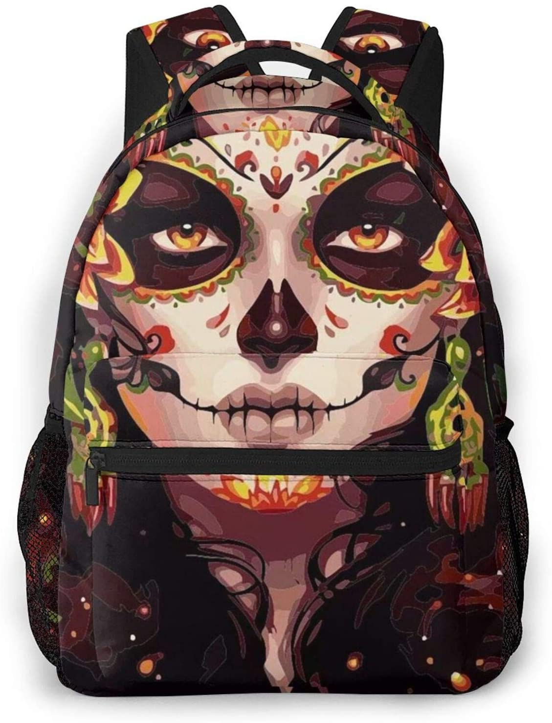 NiYoung Hiking Work Walking Cycling Backpack Daypack Durable Polyester Multipurpose Anti-Theft Backpack Big Capacity Bookbag, Day of The Dead Mysterious Goth Woman