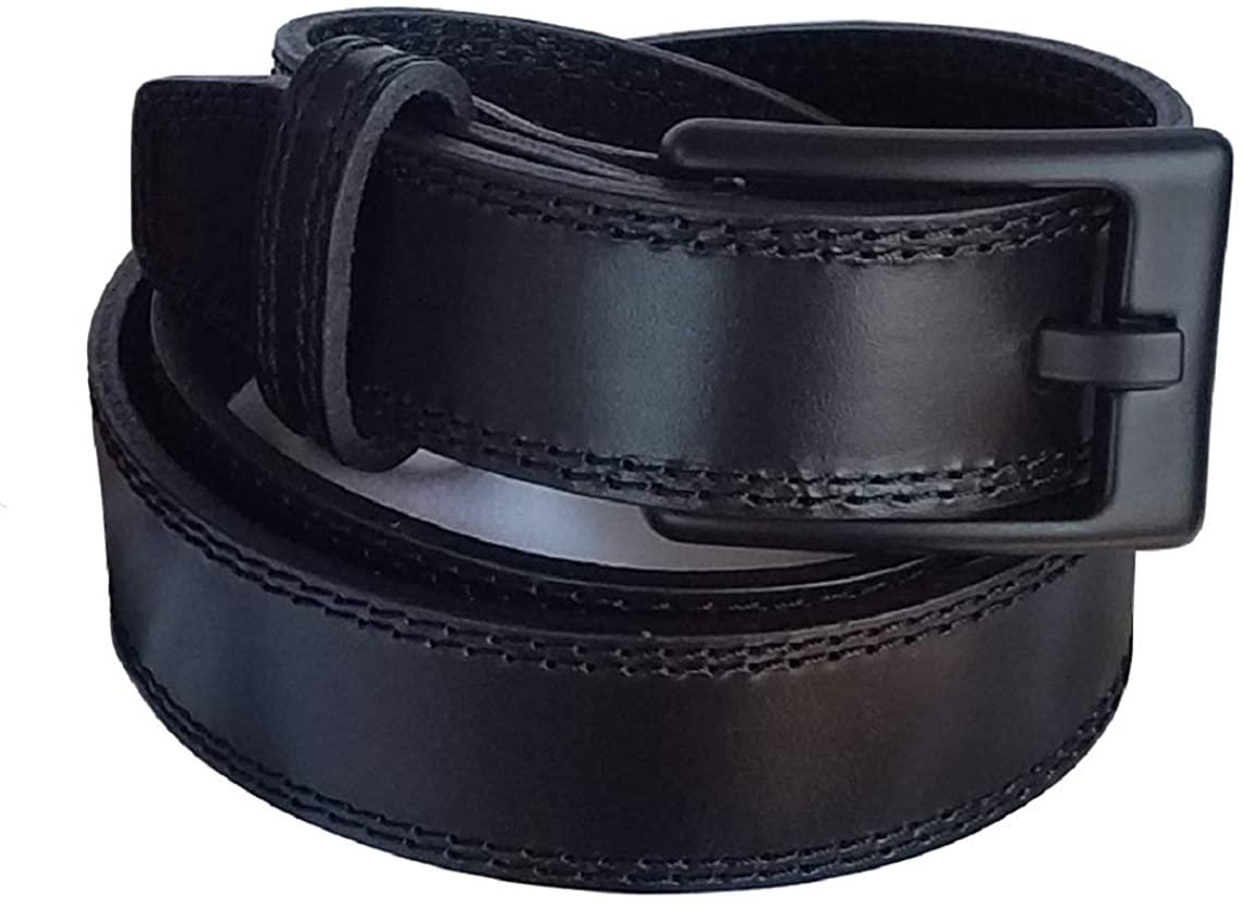 Ferrer Men's Leather Metal-free Belt 2.0: TSA Airport friendly: Nickel free: Hypoallergenic