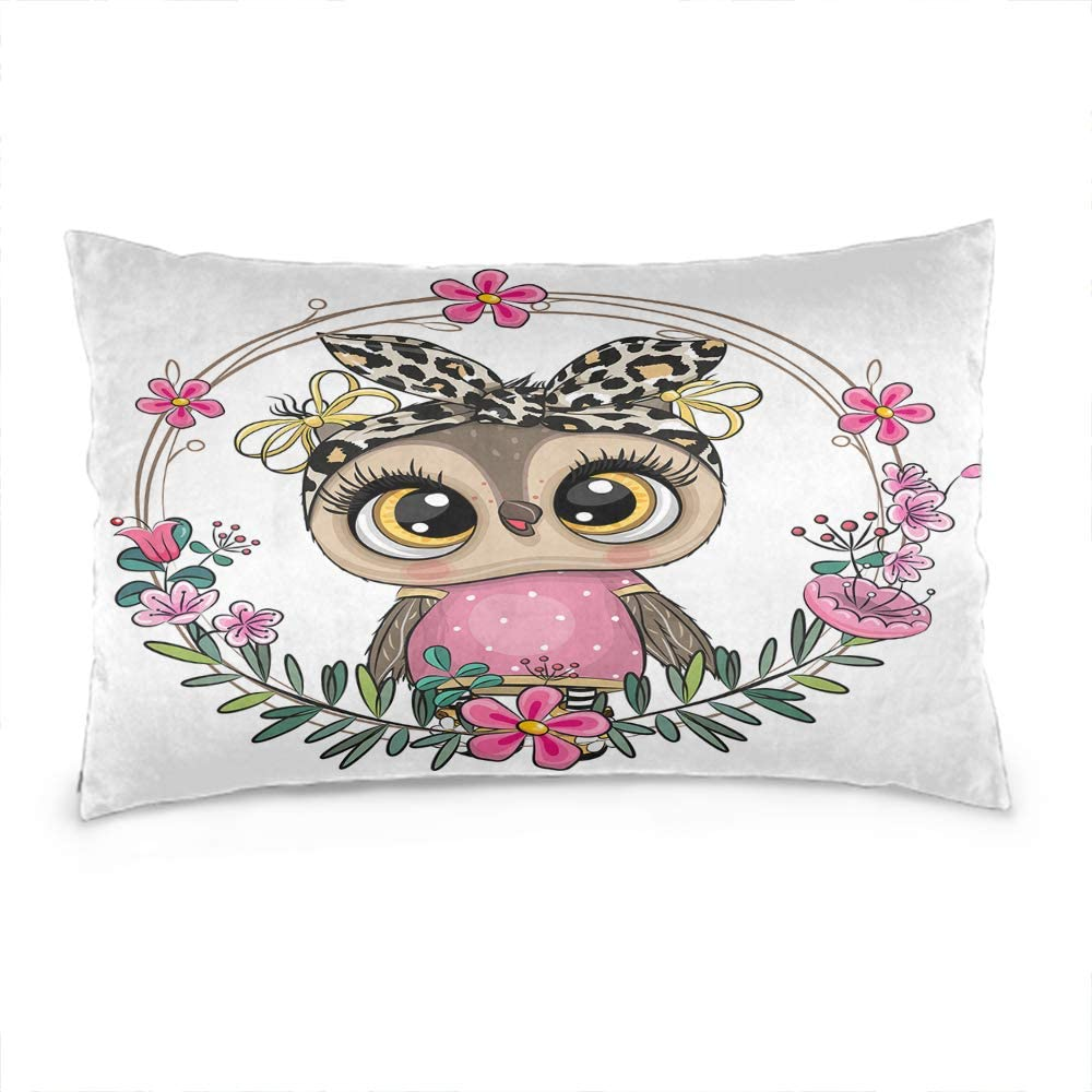 Wozukia Cute Cartoon Owl Throw Pillow Cover with A Floral Wreath Fashion Design Cotton Linen Decorative Rectangular Pillowcase for Sofa and Bed Couch 12