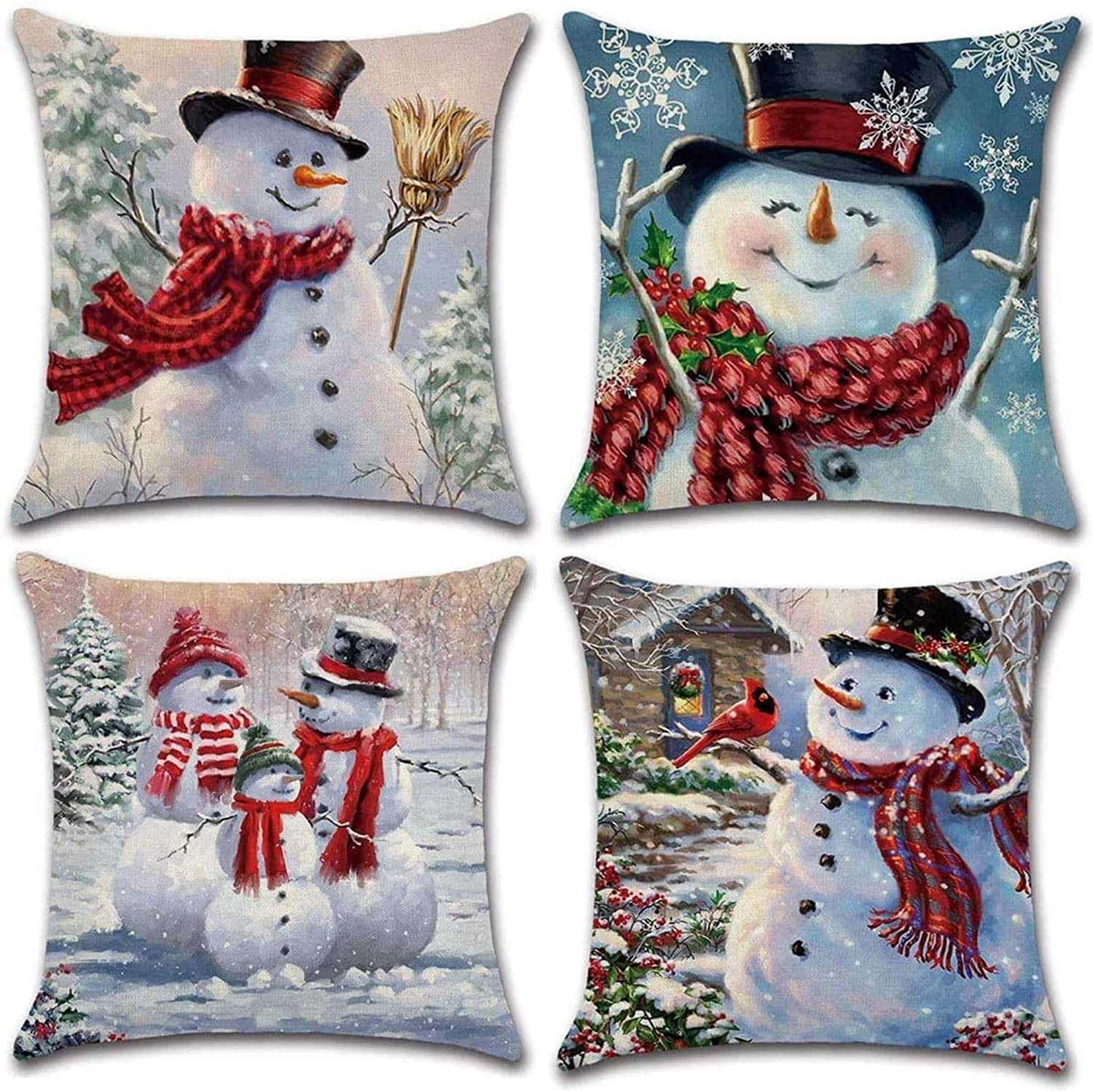 sutucom Christmas Pillowcase 18 x 18 Inches Pillow Covers Set of 4 - Xmas Series Cushion Cover Case Pillow Custom Zippered Square Pillowcase