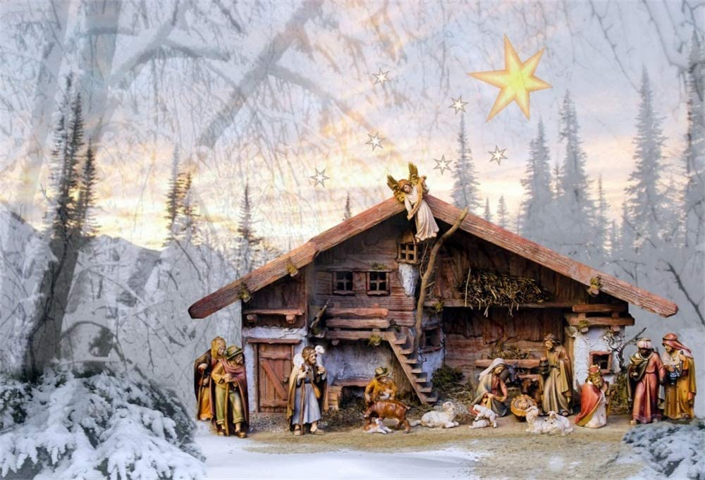LFEEY 7x5ft Nativity Scene Background Angel Joseph and Mary Winter Snow Crib Sheep Christmas Barn Stable Birth of Jesus Christ Child Manger Backdrop for Photography Photo Studio Props