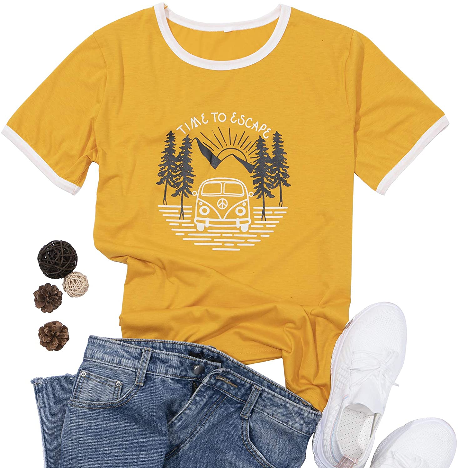 guest dream Women T-Shirt of Time to Escape Letter Print Cute Graphic White Trim O-Neck Short Sleeve Top Yellow