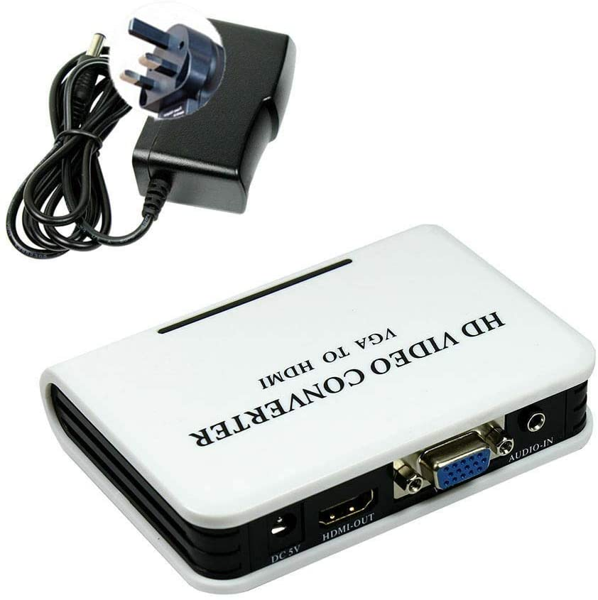 SUODAO VGA to HDMI Adapter HD Video Converter,Portable US/UK/AU/EU Plug Full HD 1080P TV AV Video Audio Converter(UK Plug)