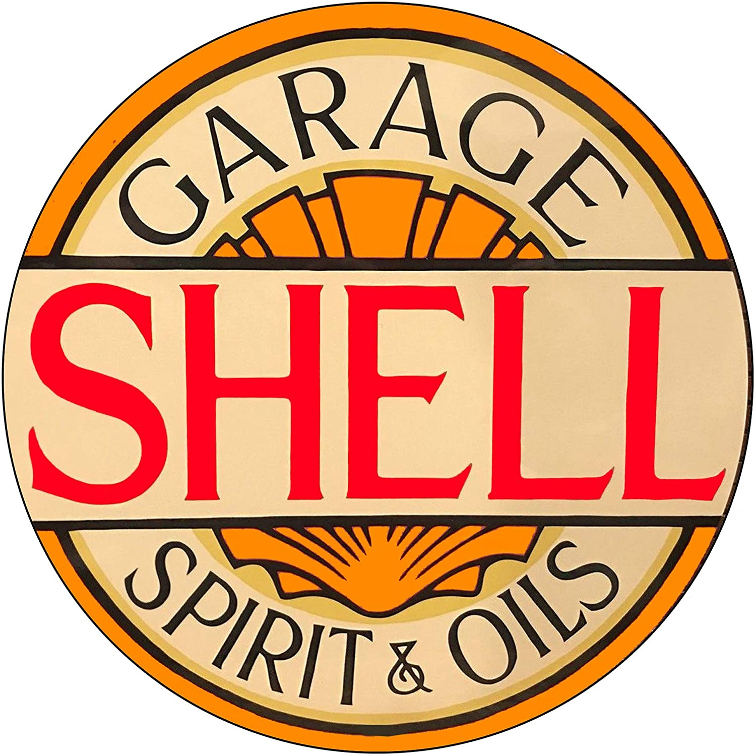 Brotherhood Vintage Gas Sign Reproduction Vintage Metal Signs Round Metal Tin Sign for Garage and Home 8 Inch Diameter – Shell Garage Spirit and Oils