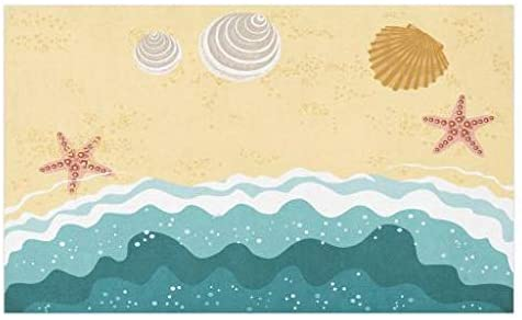 Lunarable Ocean Doormat, Sea Waves Sandy Beach with Starfish Shell Oyster Exotic Holiday Picture, Decorative Polyester Floor Mat with Non-Skid Backing, 30 X 18, Sand Brown Teal