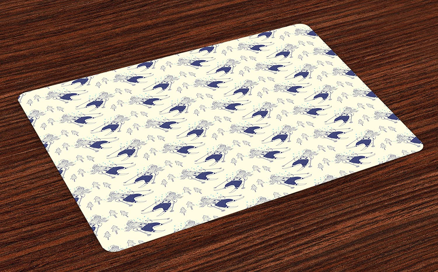 Ambesonne Winter Place Mats Set of 4, Hand Drawn Style Happy Animal Skiing in Snowy Mountain Forest Holiday, Washable Fabric Placemats for Dining Room Kitchen Table Decor, Ivory Dark Blue Pale Blue