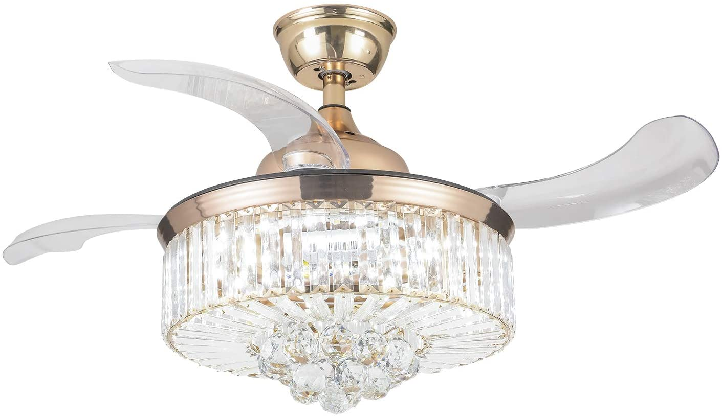 Modern Golden Crystal Ceiling Fan with Lights and Remote Chandelier with 4 Retractable Reversible Blades, 36 inch Fandelier with LED Light Kit Polishing Gold
