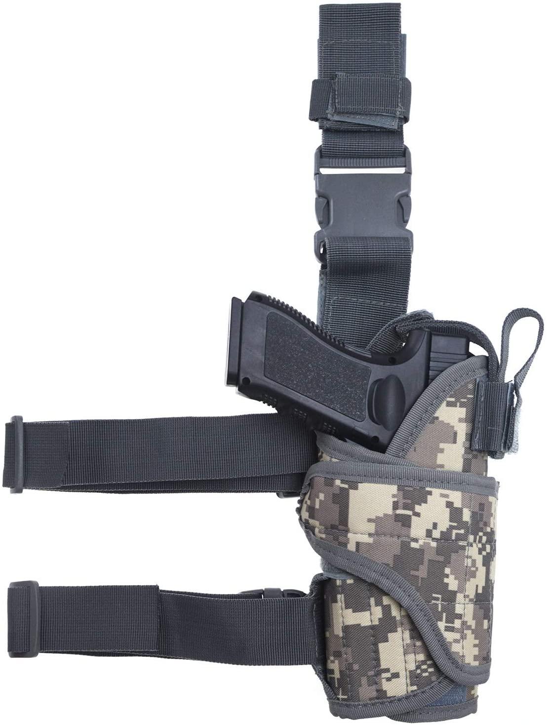 MUSVIKY Gun Leg Holster,Right-Handed Thigh Holster with Magazine Pouch,Universal Adjustable Tactical Pistol Gun Holster for Men Women,Upgraded Drop Leg Holster for Men and Women